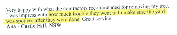 tree removal customer testimonial