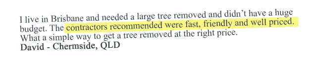 5 star review or tree removal in Lidcombe