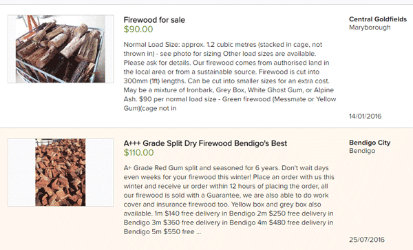 fire wood for sale gumtree