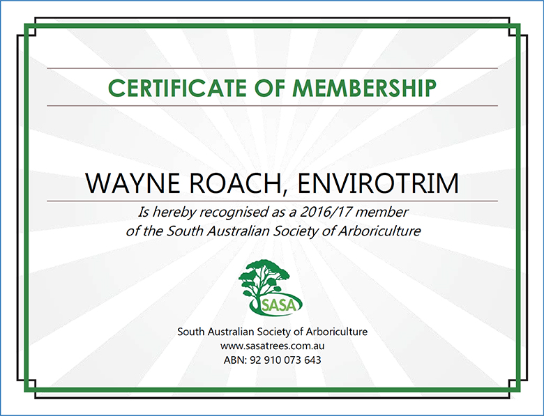 Example of certificate in Arboriculture